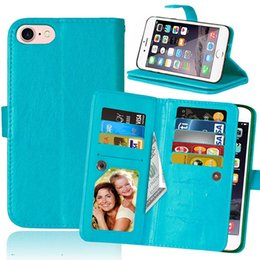 Wholesale Money Plays - Multifunction Wallet Leather Case For Iphone 7 I7 Plus MOTO G4 X Play Style Z XT1650 9 Cards Pouch Money Purse Retractable Photo Frame Cover