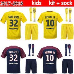 Wholesale Hiking Kits - 2017 NEYMAR JR 10 Paris Saint soccer jersey kids kit home DI MARIA 17 18 away Germain MATUIDI CAVANI T SILVA LUCAS footbll shirt