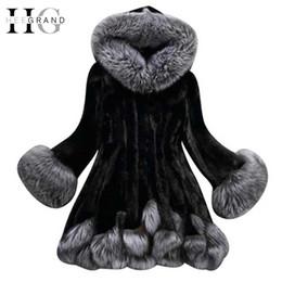 Wholesale Mink Fur Black Coats Women - HEE GRAND 2017 Fashion Winter Women Faux Fox Mink Fur Coat Woman Luxury Medium Long Fake Fur Coats Mujer Female Faux Fur WWP196