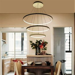 Wholesale Modern Led Ring Chandelier - 3 ring acrylic LED Chandelier Brightness Dimmable Modern round pendant lamp 90-260V 40 60 100CM Simple personality Ceiling pendant lamps