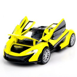 Wholesale Mini Diecast Models - Collectible Car Models 1:32 Yellow McLaren P1 Alloy Diecast Car Model Toy Vehicles Electronic Car With Light&Sound Gift for Kids