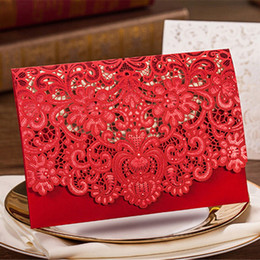 Wholesale Lace Invitations - Wedding Invitation 2016 New Patter Red Sample Personalised Handmade Laser Cut Lace Wedding Invitation Envelope H30 Wedding Invitations Cards