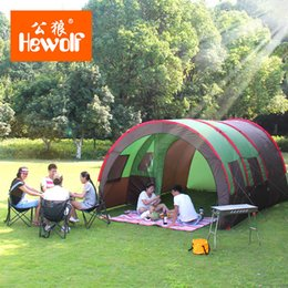 Wholesale Big Two Game - Wholesale- 480*310*210CM Glass Rod Large Double Layer Camping Tent Outdoor Hiking BBQ Super Big 8-10 Persons Family Party Tent