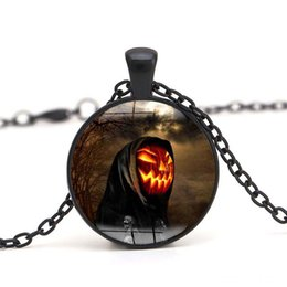 Wholesale Crystal Skull Glasses - Zombie Pendant Necklace Skull Devil Halloween Jewelry Cabochon Crystal Glass Dome Necklace for women Charm Gift Wholesale