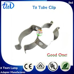 Wholesale Wholesale Metal Spring Clips - T5 T8 T4 lamp tube clamp ring pipe clamp support clip retaining clip spring buckle metal clip fluorescent card,DHL Free Shipping