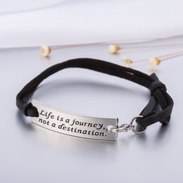 Wholesale Wholesale Leather Stamps - Hot Selling Silver Plated Life is a Journey Not a Destination Stamped Rectangle Charm Adjustable Leather Bracelet