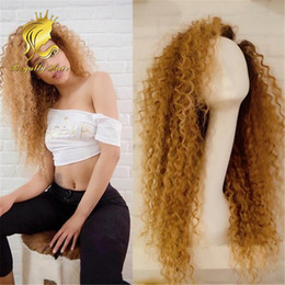 Wholesale Honey Blonde Lace Front Wigs - human hair kinky curly lace front wigs honey blonde glueless full lace wigs human hair for black women