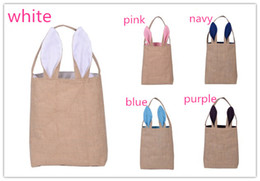 Wholesale Gunny Bags - 5 styles Children Easter Sunday gift bags Kids classic rabbit ears gunny bag canvas bag put eggs candy Easter Decoratio
