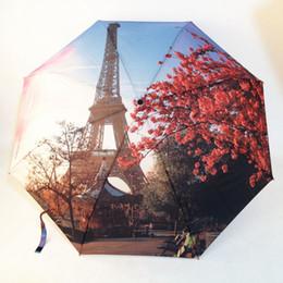 Wholesale Paris Oil Paintings - Men Women Paris Tower Oil Painting Umbrellas Big 3 Folding Fashion Automatic Umbrella Anti-UV Sun Rain Umbrella Parasol Sunshade