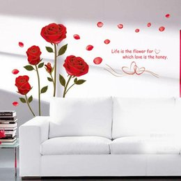 Wholesale Sticker Plastic Roses Flower - New Red Rose Flower Removable Quote Wall Sticker Mural Decal Home Room Art Decor Vinyl Romantic Delightful