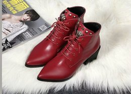 Wholesale Pointed Heels Womens Shoes - Rivet Boots For Womens Luxury Brand Martin Cow Leather Booties Ladies Square Heels Zip Casual Shoes Pointed Toes Free Shipping SZ35-40
