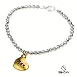 Wholesale Bead Jewerly - New sliver copper beads women bracelets bangs jewerly gold heart charm bracelets gift for mother's Day wholesale