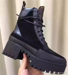 Wholesale High Platform Leather Boots - New Real leather Combat Derset Boots Feminino High Platform Women Boot 2018 Fall