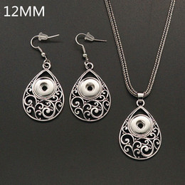 Wholesale 12mm Earring - New DJ0176 Beauty Simple Drop Hollow flower pattern ginger snap necklace&Earrings fit 12mm ginger snap buttons wholesale