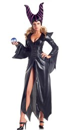 Wholesale Devil Queen Costume - halloween costumes Long Sleeve cospaly Dark witch Maleficent Demon Queen Black Leather Clothing Horns headwear