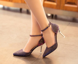 Wholesale Spring Heel Shoes - Spring and Summer Wedding Shoes Side Empty with A Fine Pointed High-heeled Sandals Nightclub Sequins Shoes