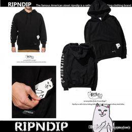 Wholesale Animal Lords - RIPNDIP Men's Lord Nermal Pocket Cat Design Hoodie Harajuku Ripndip Winter Pullover Sweatshirt Tops Teenager Hot Casual Pullover Hoodie