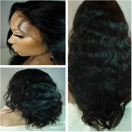 Wholesale Long Brown Wavy Lace Wigs - Natural hairline brazilian glueless full lace wigs human hair front lace wigs wavy natural color with baby hair