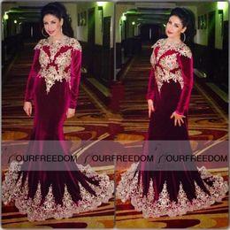 Wholesale Luxury Kaftan - Luxury 2016 Burgundy long sleeve Muslim mermaid Evening Dresses Formal Dubai Kaftan velvet gowns Turkish Arabic style