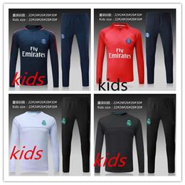 Wholesale Suits Kids Wear - 2017 kids Real Madrid survetement football tracksuits 2018 Ronaldo Verratti Long pants wear Paris Neymar JR kids training suit jacket kit