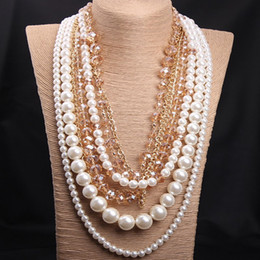 Wholesale Chunky Link Necklace For Women - 2015 Hot Fashion Jewelry 18K Gold Plated Multilayer Chain Pearl Pendant Handmade Glass Beads Necklace For Women Chunky Necklace