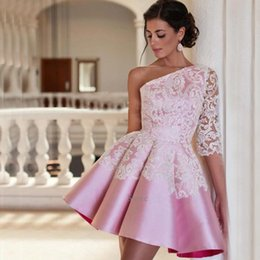 Wholesale White One Sleeve Homecoming Dress - Pink Satin White Lace Cocktail Dresses One Shoulder Applique A Line Pleats Short Single 3 4 Long Sleeve Homecoming Dress Prom Party Gown