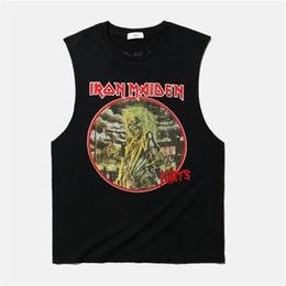 Wholesale Vintage Band Tees - Wholesale- Iron Maiden Band Tank Tops Men 2017 Summer Fashion Print Man Sleeveless Tees Vintage Frayed Rock Roll Hombre Singlet Kpop Tank