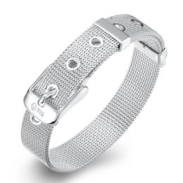 Wholesale Man Woman Watches Sets - Elegant Silver Plated Braided Watch Band Bracelets & Bangles 10MMX20CM Web Watch Belt Fashion Jewelry for Unisex Women Girl Men Gifts