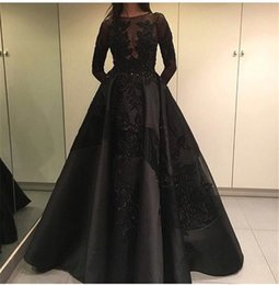 Wholesale Capped Sleeved Dresses - Long Sleeved Evening Dresses 2017 Free Shipping Robe De Soiree Manche Longue Black Satin Ball Gown Prom Dress
