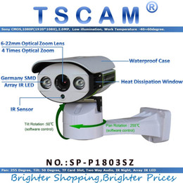 Wholesale Ip Camera Array - TSCAM SP-P1803SZ Pan Tilt Zoom IP Camera ONVIF HD 1080P 2.0MP TF Micro SD Card Slot Two Way Audio Line Array IR