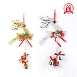Wholesale Family Footings - The Christmas tree ornaments accessories Reindeer and Plastic bells pendant Family festival decoration supplies Gold and sliver color