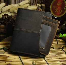 Wholesale Ladies Short Chain Designs - Crazy Horse Leather Wallet Bi-fold luxury men wallet purse with a card holder Vintage trency design hot sales in 2016