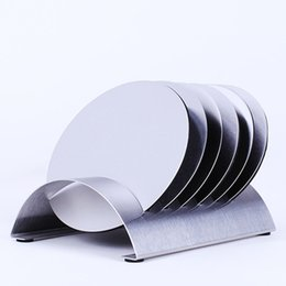 Wholesale Stainless Steel Coasters - Stainless Steel Coffee Cup Coasters Pad Holder Pot Bowls Round Insulated Heat Mat with Rack Coaster holder Free Shipping