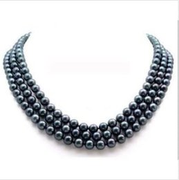 Wholesale Tahitian Pearl Necklace Earrings - 3 rows Natural tahitian 8-9mm Black Pearl Necklace Gold Clasp + gift earring 14K