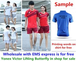 Wholesale Shirt Table - Wholesale EMS for free, Text printing for free, new badminton shirt clothes table tennis T sport shirt clothes 3037