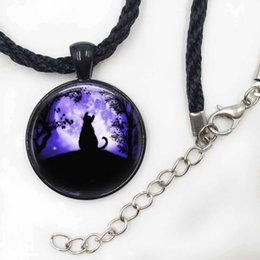Wholesale Tile Necklaces - Cat Necklace Glass Tile Necklace Moon Jewelry Moon Necklace Black cat Pendant Jewelry Girls Glass Cabochon