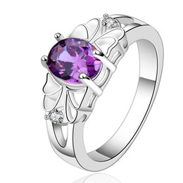 Wholesale Vintage Amethyst Silver Ring - 2017 Midi Rings Purple Stone Silver Ring with Gift Box Amethyst Rectangular Female Vintage Jewelry For Girls Party Wholesale RG-053