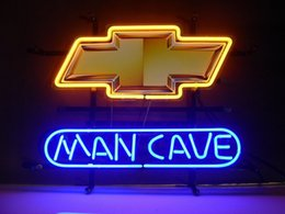 "Wholesale Chevrolet Neon Signs - NEW Chevrolet Chevy Man Cave BEER REAL GLASS NEON LIGHT BAR PUB SIGN 19""X15"""