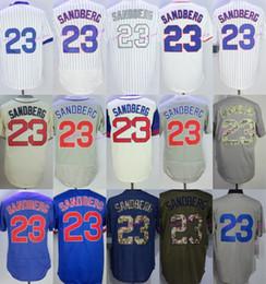 Wholesale Vintage Jersey Baseball - New Baseball 23 Ryne Sandberg Jersey Vintage Chicago Cooperstown Jerseys 1988 Flexbase White Pinstripe Blue Pullover Grey Cream