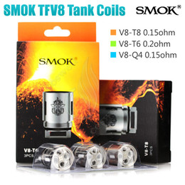 Wholesale E Tanks - 100%Quality TFV8 Coil Head V8-T8 V8-T6 V8-Q4 RBA Replacement Coils For SMOK TFV8 Cloud Beast Tank Smoktech atomizer Vaporizer e cigs RDA DHL
