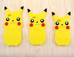 Wholesale Iphone5 Cute - Cartoon Poke Pikachu Soft 3D Silicone Cases For iphone5 5S SE 6 6S PLUS Rubber Gel Cute Anime Skins