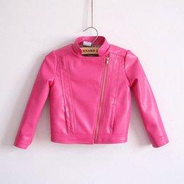 Wholesale Girls Short Jacket Designs - Hot sale autumn baby girl's biker blazer child stand collar leather clothing outerwear short design PU coat motorcycle jackets