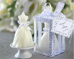 Wholesale candle birthday party favors - Home Party GIft Elegant Wedding Dress Candle Boxed Whit Tag Romantic For Wedding Birthday Bride Shower Party Favors Gifts