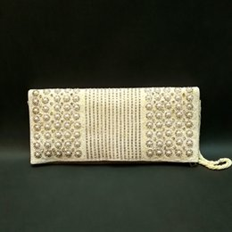 Wholesale White Pearl Clutch Bag - Hand Made White pearl Woman Evening Bag Lady Clutch