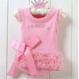 Wholesale Nice One Piece Dresses - Wholesale- Nice Baby Girls Kid Bodysuit Princess Ballet Top Suit Dress One-piece 0-24 Months Hot Sales