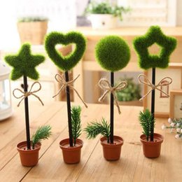 Wholesale Christmas Stationery Free Shipping - New 6pcs Artificial Pot Plant Shape Ballpoint Pens Vivid Cute Stationery Gifts Price Christmas Home School Office Decoration Free Shipping
