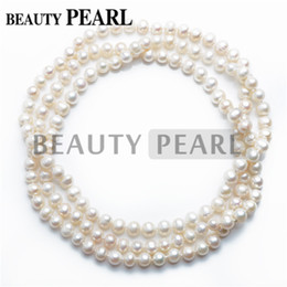 Wholesale Long Cultured Pearl Necklaces - Freshwater Cultured White Pearl Strand Long Necklace 8-9mm Potato Pearls for Women Wedding Anniversary Jewelry Perfect Gift