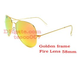 Wholesale Fire Half - 1pcs Mens Womens Designer Pilot Sunglasses Sun Glasses Gold Frame Fire Lens 58mm Eyewear 12 Colors With Box And Leather Case