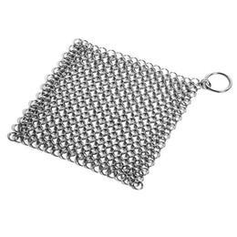 20 * 20cm Acciaio inossidabile Chainmail Ring Scrubber Cast Iron Skillet Pot Cleaner Casa strumento di pulizia della casa da signore cosmetici grossisti fornitori