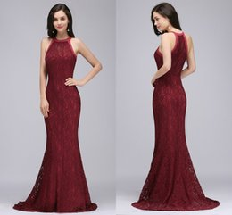 Wholesale Vintage Full Length Prom Dresses - Vintage Burgundy Full Lace Evening Dresses Halter Mermaid Prom Dresses Cheap Stock Real Photo Formal Evening Gowns 2017